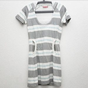 Puma Grey & White Striped Hoodie Dress